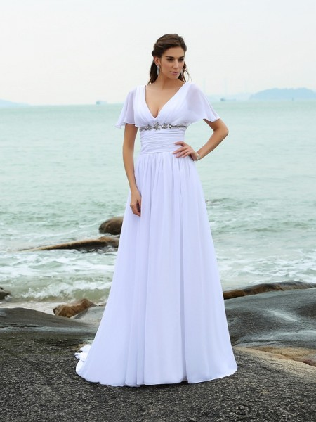A-Line/Princess V-neck Ruffles Short Sleeves Court Train Chiffon Bridal Dress