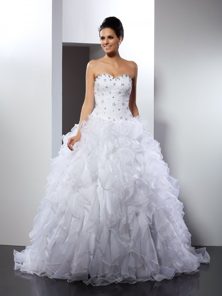 Ball Gown Sweetheart Ruffles Sleeveless Court Train Satin Bridal Dress