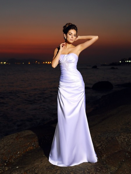 Trumpet/Mermaid Sweetheart Sleeveless Chapel Train Satin Bridal Dress