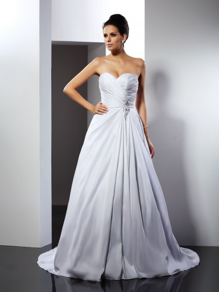 A-Line/Princess Sweetheart Ruffles Sleeveless Court Train Taffeta Bridal Dress