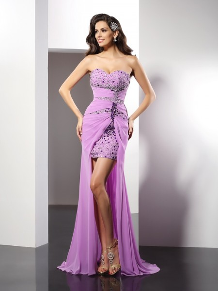 Sheath/Column Sweetheart Beading Sleeveless Floor-Length Silk like Satin Dress