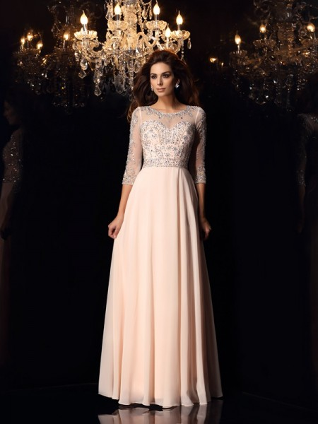A-Line/Princess Scoop Beading 3/4 Sleeves Floor-Length Chiffon Dress