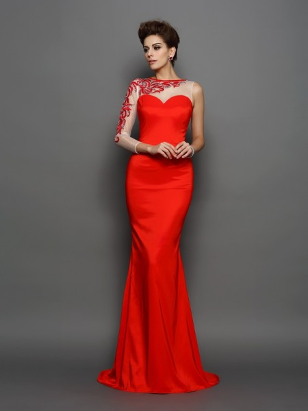 Trumpet/Mermaid High Neck Embroidery Long Sleeves Court Train Elastic Woven Satin Dress