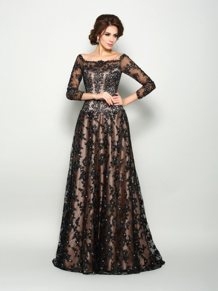A-Line/Princess Off-the-Shoulder Lace 3/4 Sleeves Court Train Satin Mother of the Bride Dress