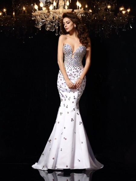 Trumpet/Mermaid Sweetheart Rhinestone Sleeveless Court Train Satin Dress