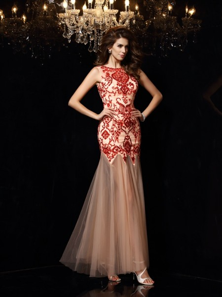 Sheath/Column Scoop Beading Sleeveless Floor-Length Satin Dress