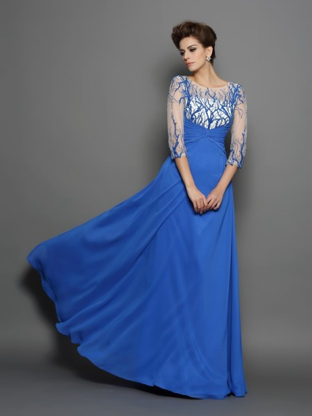 A-Line/Princess Scoop Applique 1/2 Sleeves Floor-Length Chiffon Dress
