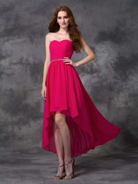 Princess Sweetheart Beading Asymmetrical Chiffon Dress