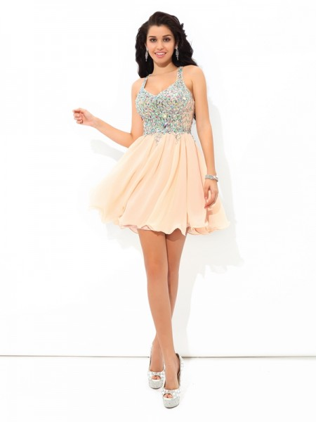 Princess Straps Rhinestone Short Chiffon Dress