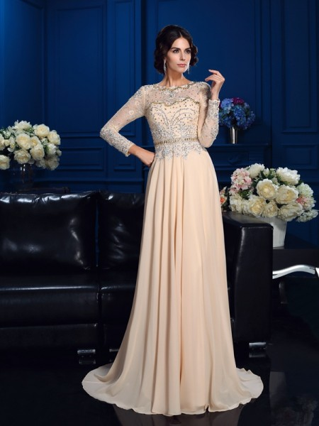 Princess Scoop Long Sleeves Beading Sweep/Brush Train Chiffon Mother Of The Bride Dress