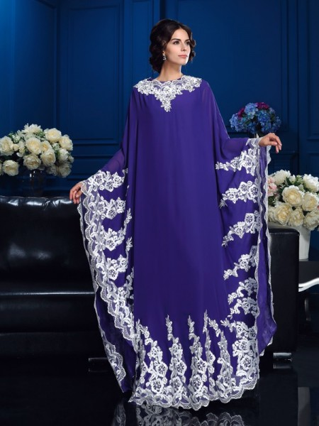 Princess Scoop Long Sleeves Applique Floor-Length Chiffon Mother Of The Bride Dress