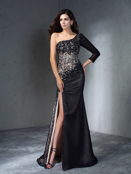 Trumpet One-Shoulder 3/4 Sleeves Sweep/Brush Train Lace Dresses