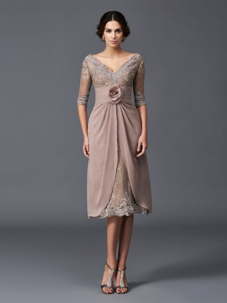Princess 1/2 Sleeves V-neck Hand-Made Flower Tea-Length Lace Mother of the Bride Dress