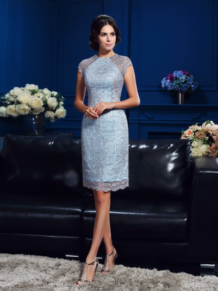 Sheath Scoop Short Sleeves Short Satin Mother Of The Bride Gown