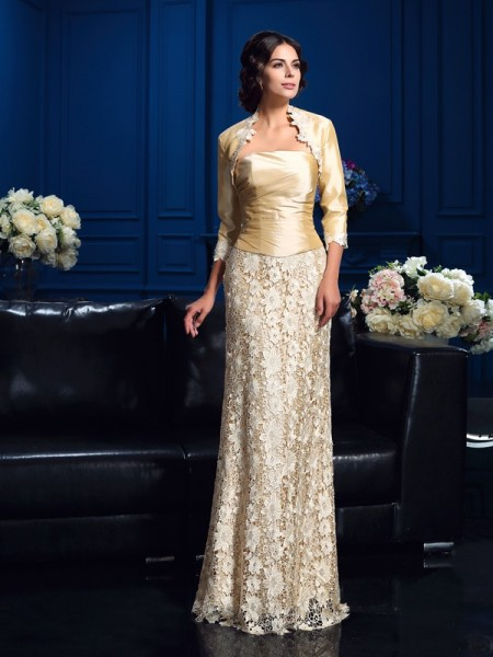 Princess Strapless Floor-Length Lace Mother Of The Bride Gown