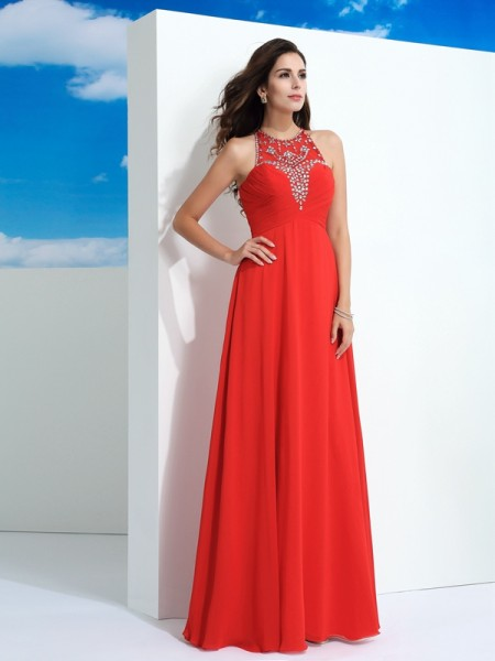 Princess Sheer Neck Floor-Length Beading Chiffon Gowns