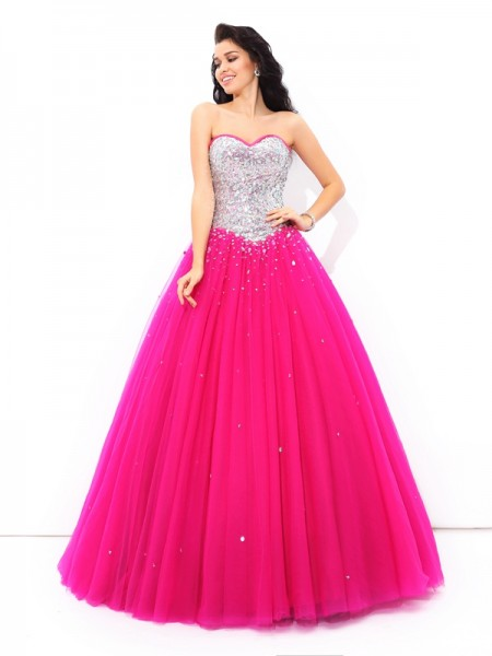 Ball Gown Sweetheart Beading Floor-Length Satin Quinceanera Dresses