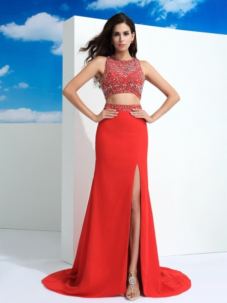 Princess Sheer Neck Beading Chiffon Floor-Length Gown