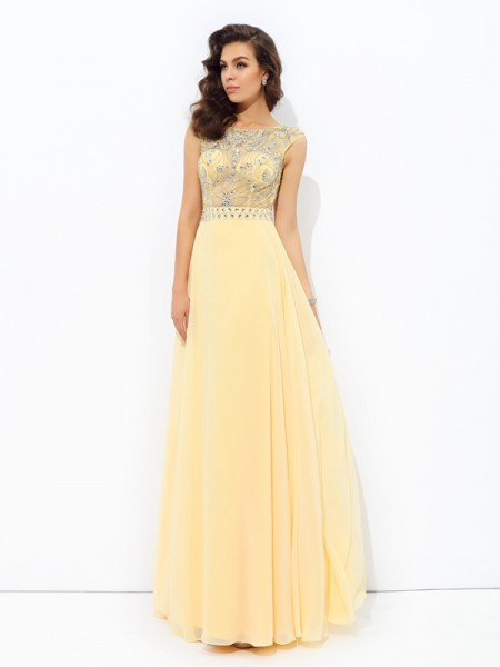 Princess Sweetheart Beading Sweep/Brush Train Chiffon Gowns