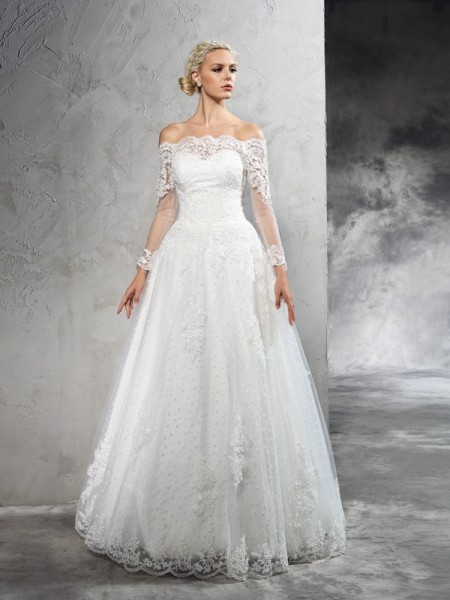 Ball Gown Sheer Neck Sash/Ribbon/Belt Court Train Net Bridal Dresss