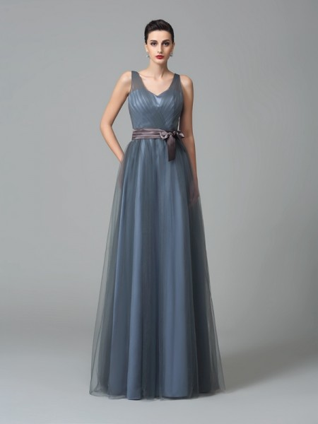 Princess Sweetheart Ruffles Floor-Length Net Bridesmaid Gown