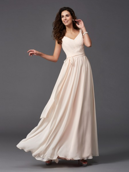 Princess Sweetheart Ruffles Floor-length Chiffon Bridesmaid Gown