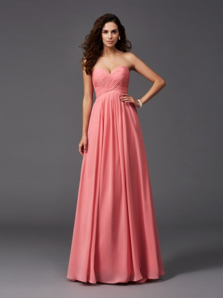 Princess Sweetheart Pleats Knee-Length Chiffon Bridesmaid Dress