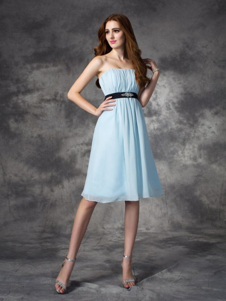 Princess Straps Rhinestone Knee-Length Chiffon Bridesmaid Dress