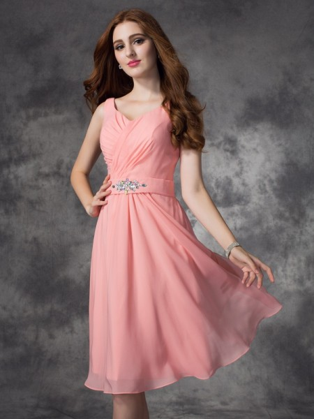 Princess Straps Ruched Knee-Length Chiffon Bridesmaid Dress
