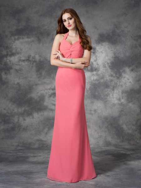 Princess One-Shoulder Hand-Made Flower Floor-Length Chiffon Bridesmaid Dress