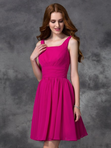 Princess V-neck Short Satin Bridesmaid Gown