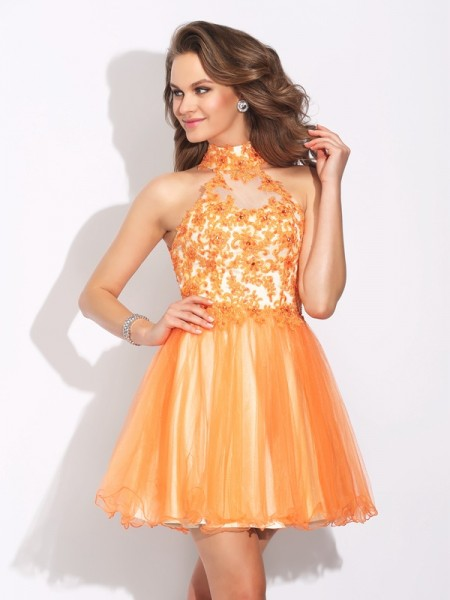 Princess High Neck Beading Short Net Dress