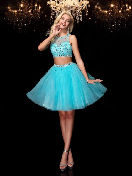 Princess Sweetheart Beading Short Net Dresses