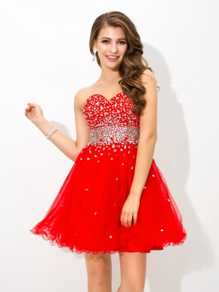 A-Line/Princess Sweetheart Beading Short Organza Cocktail Dress