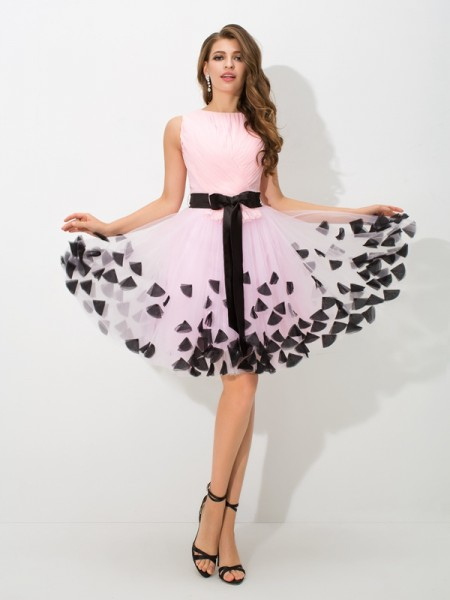 A-Line/Princess High Neck Bowknot Short Net Cocktail Dress