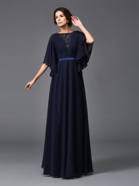 A-Line/Princess Scoop Beading 1/2 Sleeves Chiffon Mother of the Bride Dress