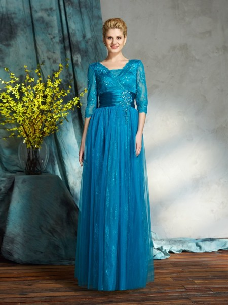 A-Line/Princess V-neck Applique 3/4 Sleeves Long Net Mother of the Bride Dress