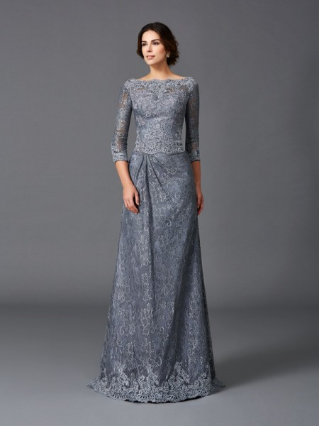 A-Line/Princess Bateau Lace 3/4 Sleeves Long Net Mother of the Bride Dress