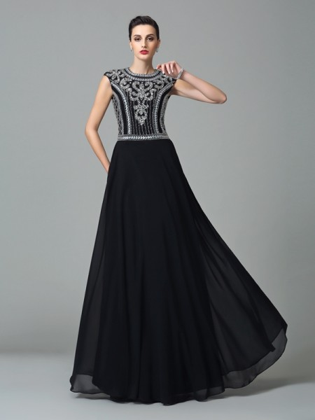A-Line/Princess Jewel Beading Short Sleeves Chiffon Dress