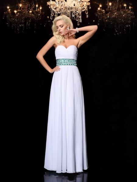 A-line/Princess Sweetheart Rhinestone Chiffon Dress