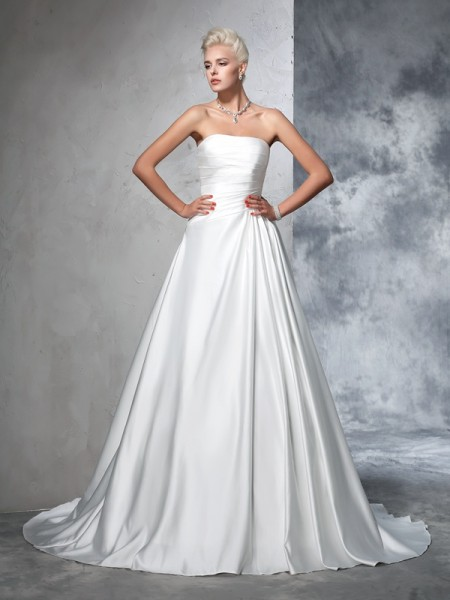 Ball Gown Strapless Ruched Satin Wedding Dress