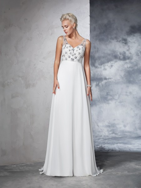 A-Line/Princess V-neck Beading Chiffon Wedding Dress