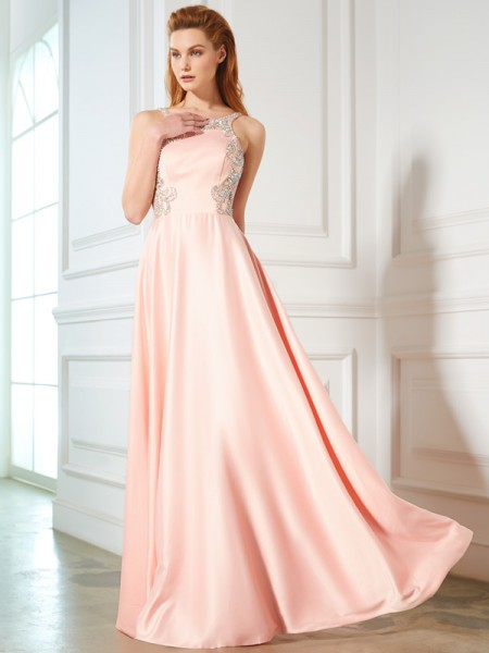 A-Line/Princess Scoop Satin Floor-Length Dress