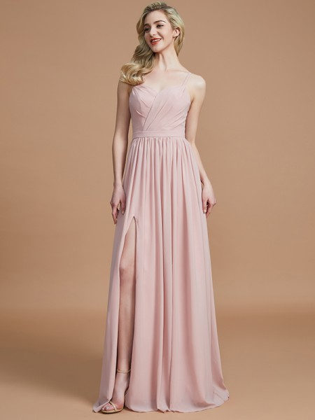 A-Line/Princess Spaghetti Straps Sleeveless Ruched Floor-Length Chiffon Bridesmaid Dresses