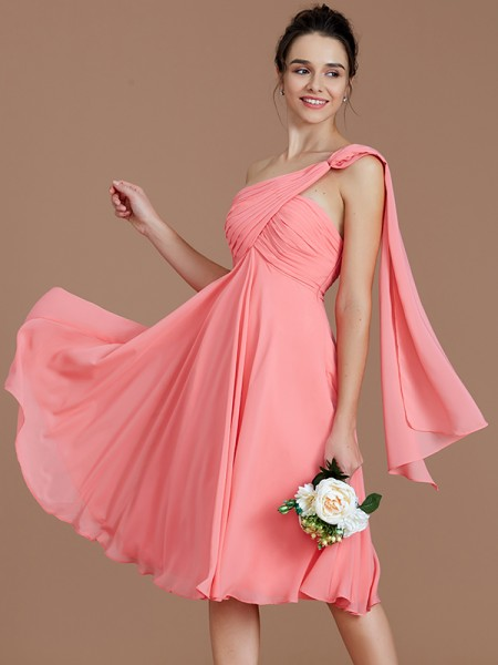 A-Line/Princess One-Shoulder Sleeveless Ruched Short/Mini Chiffon Bridesmaid Dresses