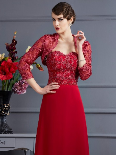 Elegant Net 3/4 Sleeves Applique Special Occasion Wrap