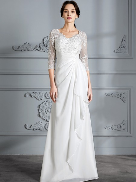 Sheath/Column Chiffon V-neck Floor-Length Wedding Dress