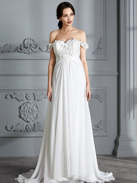 A-Line/Princess Chiffon Off-the-Shoulder Floor-Length Wedding Dress