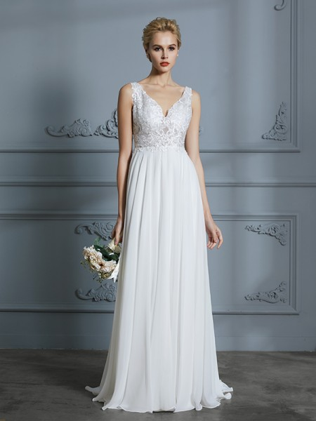 A-Line/Princess Chiffon V-neck Sweep/Brush Train Wedding Dress