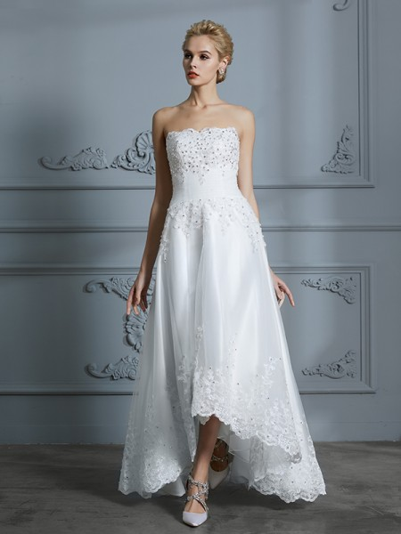 A-Line/Princess Tulle Sweetheart Asymmetrical Wedding Dress